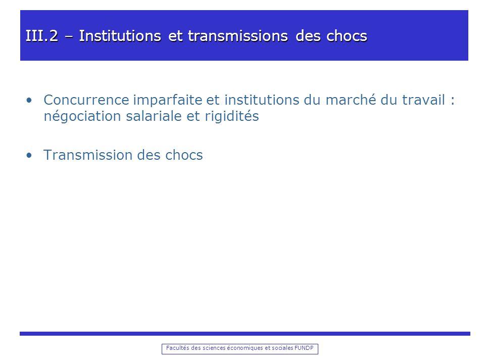 III.2 – Institutions et transmissions des chocs