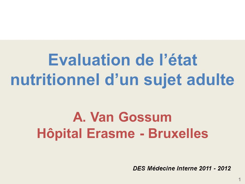 Evaluation de l'état nutritionnel d'un sujet adulte A