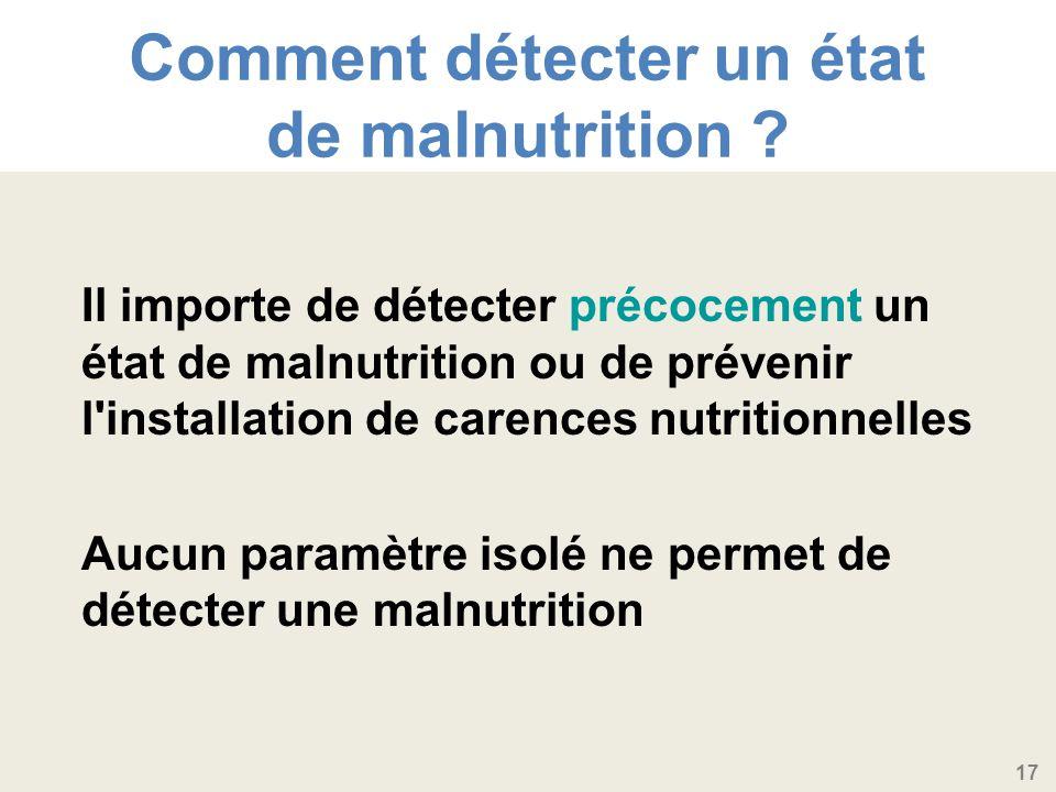 Comment détecter un état de malnutrition