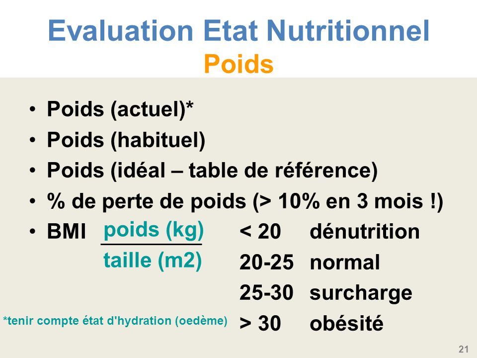 Evaluation Etat Nutritionnel Poids