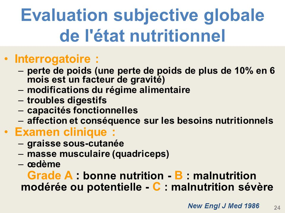 Evaluation subjective globale de l état nutritionnel