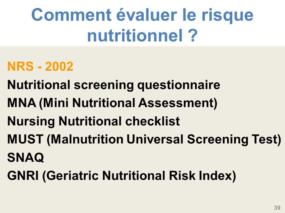 Comment évaluer le risque nutritionnel