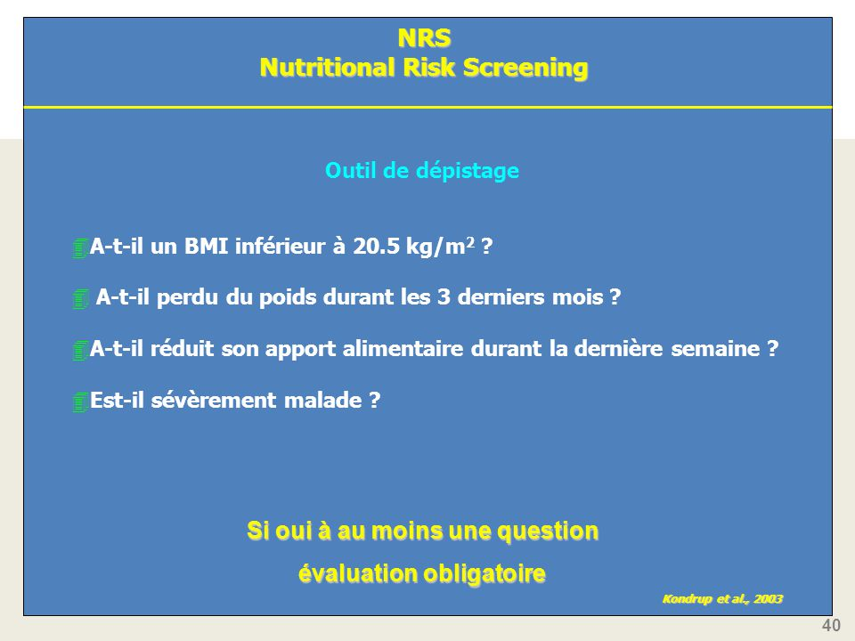 NRS Nutritional Risk Screening