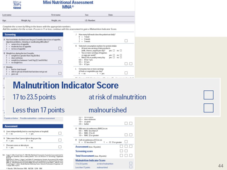 The global score allows to classify the patient according to the nutritional risk