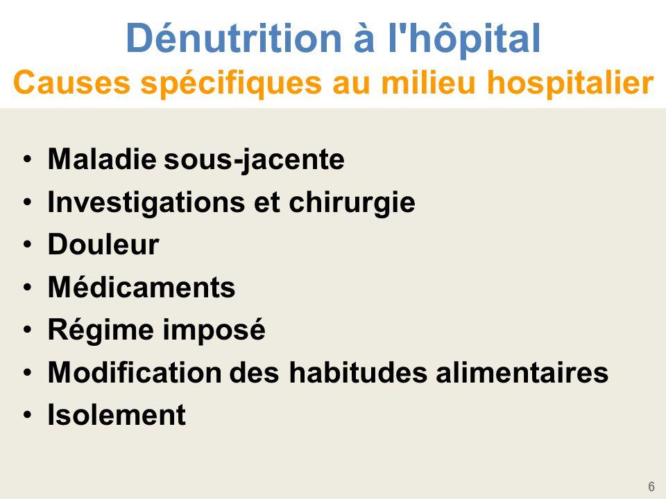 Dénutrition à l hôpital Causes spécifiques au milieu hospitalier
