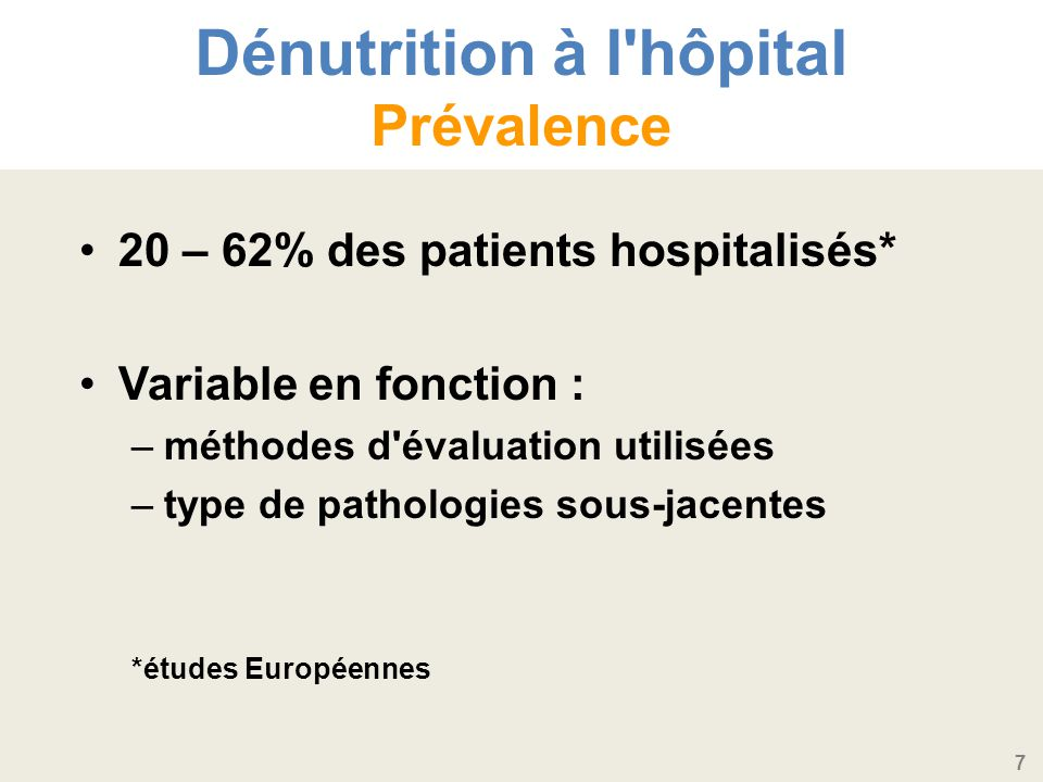 Dénutrition à l hôpital Prévalence