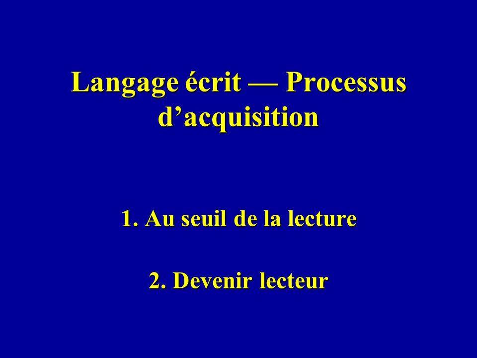 Langage écrit — Processus d'acquisition 1. Au seuil de la lecture 2