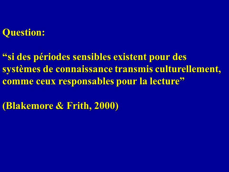 Question: si des périodes sensibles existent pour des systèmes de connaissance transmis culturellement, comme ceux responsables pour la lecture (Blakemore & Frith, 2000)