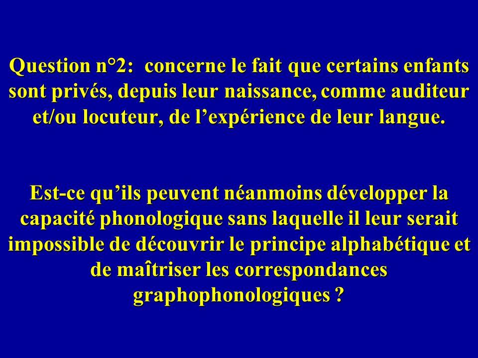 Question n°2: concerne le fait que certains enfants sont privés, depuis leur naissance, comme auditeur et/ou locuteur, de l'expérience de leur langue.