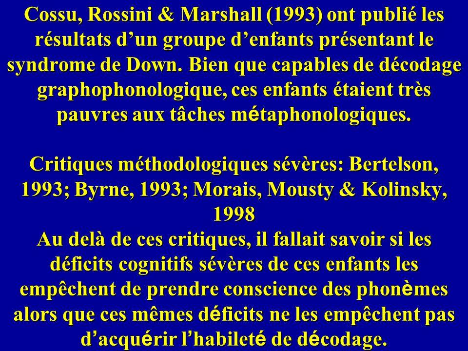 Cossu, Rossini & Marshall (1993) ont publié les résultats d'un groupe d'enfants présentant le syndrome de Down.