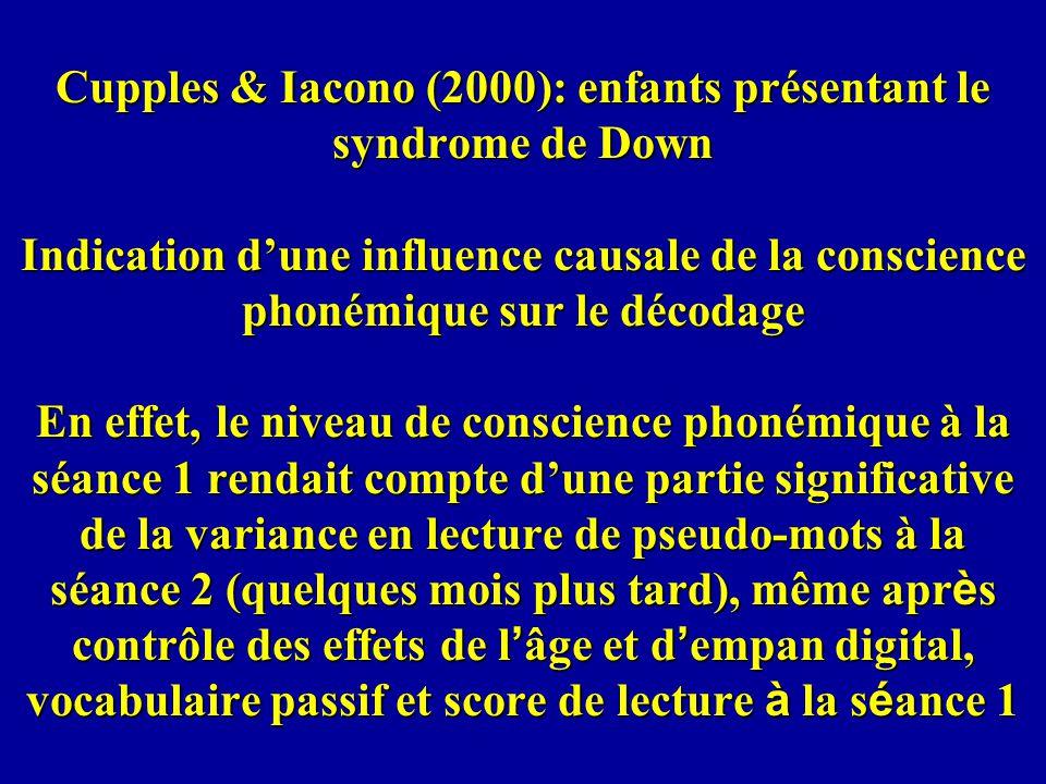 Cupples & Iacono (2000): enfants présentant le syndrome de Down Indication d'une influence causale de la conscience phonémique sur le décodage En effet, le niveau de conscience phonémique à la séance 1 rendait compte d'une partie significative de la variance en lecture de pseudo-mots à la séance 2 (quelques mois plus tard), même après contrôle des effets de l'âge et d'empan digital, vocabulaire passif et score de lecture à la séance 1