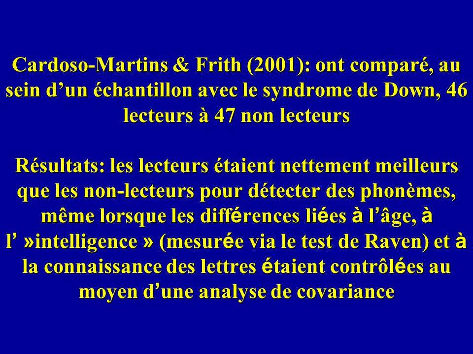 Cardoso-Martins & Frith (2001): ont comparé, au sein d'un échantillon avec le syndrome de Down, 46 lecteurs à 47 non lecteurs Résultats: les lecteurs étaient nettement meilleurs que les non-lecteurs pour détecter des phonèmes, même lorsque les différences liées à l'âge, à l' »intelligence » (mesurée via le test de Raven) et à la connaissance des lettres étaient contrôlées au moyen d'une analyse de covariance