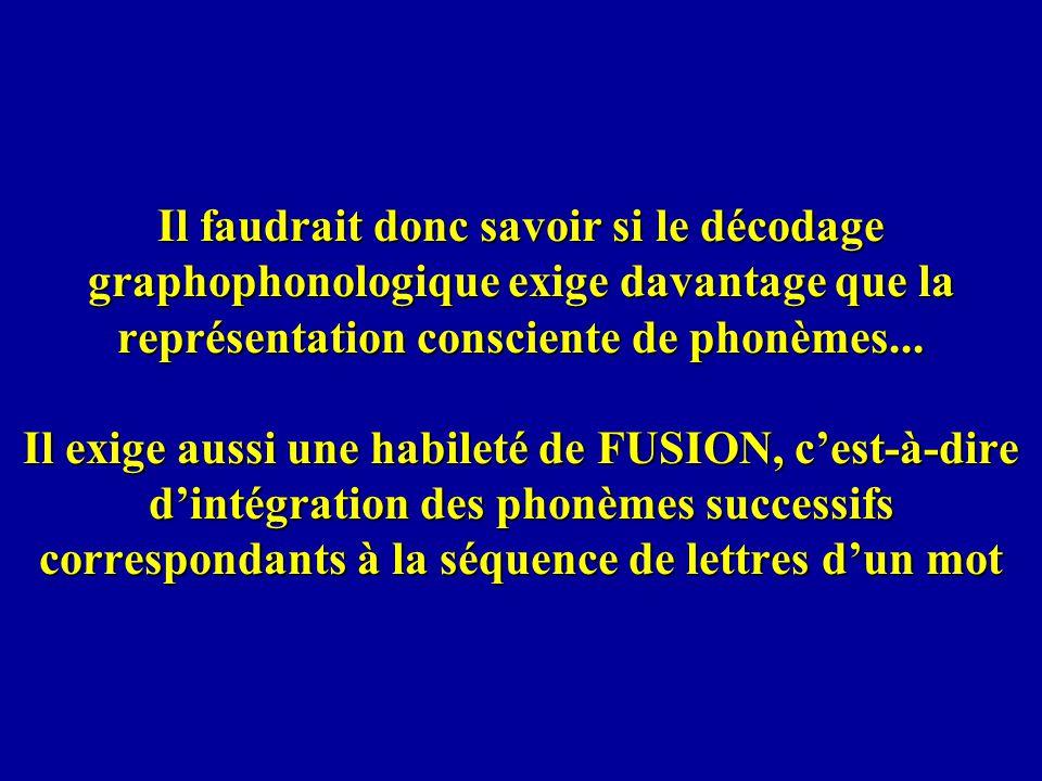 Il faudrait donc savoir si le décodage graphophonologique exige davantage que la représentation consciente de phonèmes...