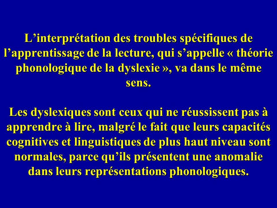 L'interprétation des troubles spécifiques de l'apprentissage de la lecture, qui s'appelle « théorie phonologique de la dyslexie », va dans le même sens.