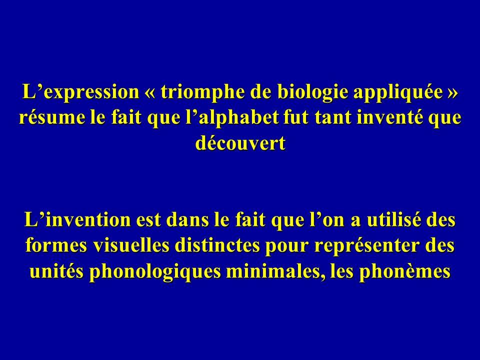 L'expression « triomphe de biologie appliquée » résume le fait que l'alphabet fut tant inventé que découvert L'invention est dans le fait que l'on a utilisé des formes visuelles distinctes pour représenter des unités phonologiques minimales, les phonèmes