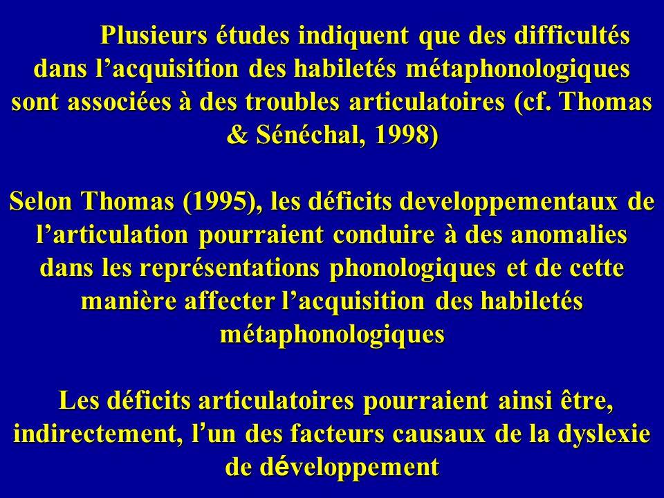 Plusieurs études indiquent que des difficultés dans l'acquisition des habiletés métaphonologiques sont associées à des troubles articulatoires (cf.