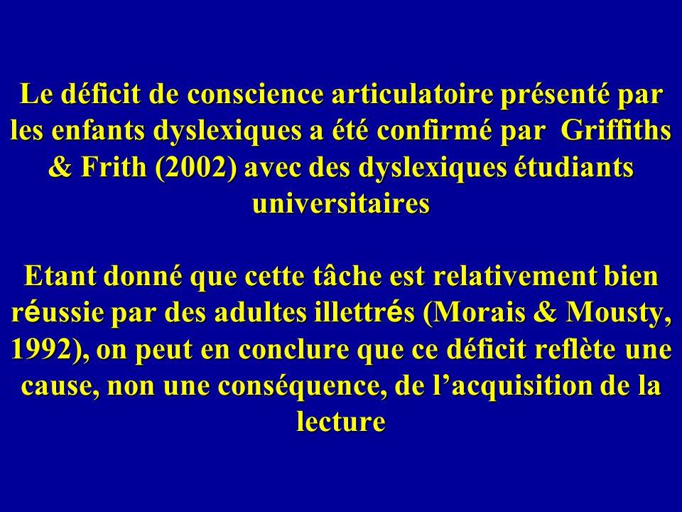 Le déficit de conscience articulatoire présenté par les enfants dyslexiques a été confirmé par Griffiths & Frith (2002) avec des dyslexiques étudiants universitaires Etant donné que cette tâche est relativement bien réussie par des adultes illettrés (Morais & Mousty, 1992), on peut en conclure que ce déficit reflète une cause, non une conséquence, de l'acquisition de la lecture