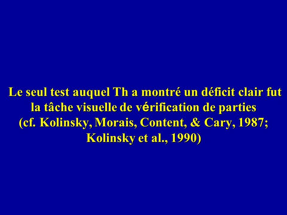 Le seul test auquel Th a montré un déficit clair fut la tâche visuelle de vérification de parties (cf.