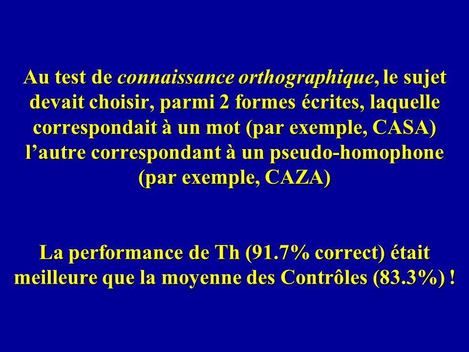 Au test de connaissance orthographique, le sujet devait choisir, parmi 2 formes écrites, laquelle correspondait à un mot (par exemple, CASA) l'autre correspondant à un pseudo-homophone (par exemple, CAZA) La performance de Th (91.7% correct) était meilleure que la moyenne des Contrôles (83.3%) !