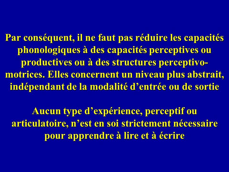 Par conséquent, il ne faut pas réduire les capacités phonologiques à des capacités perceptives ou productives ou à des structures perceptivo-motrices.