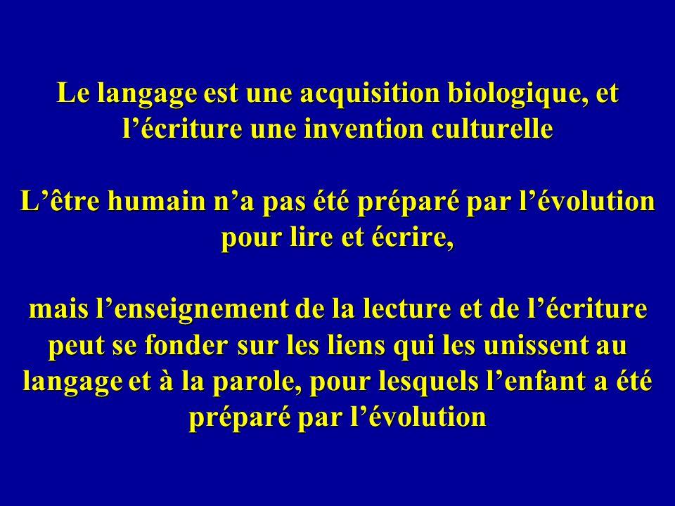 Le langage est une acquisition biologique, et l'écriture une invention culturelle L'être humain n'a pas été préparé par l'évolution pour lire et écrire, mais l'enseignement de la lecture et de l'écriture peut se fonder sur les liens qui les unissent au langage et à la parole, pour lesquels l'enfant a été préparé par l'évolution