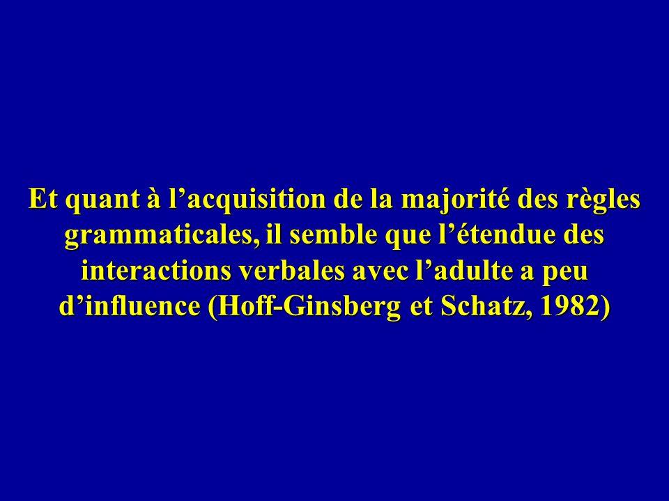 Et quant à l'acquisition de la majorité des règles grammaticales, il semble que l'étendue des interactions verbales avec l'adulte a peu d'influence (Hoff-Ginsberg et Schatz, 1982)