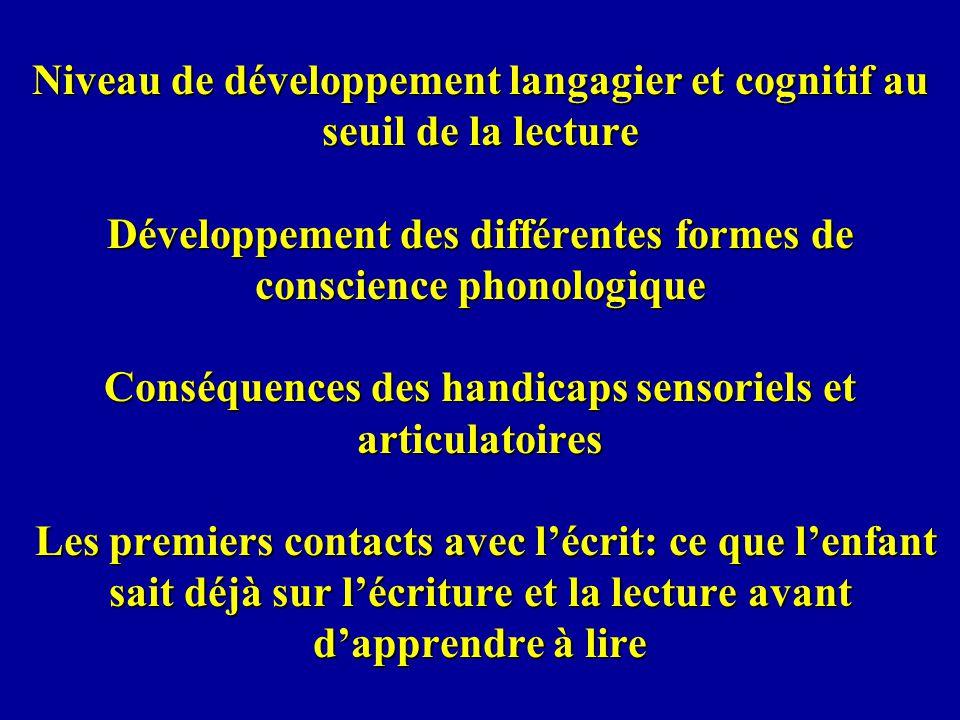 Niveau de développement langagier et cognitif au seuil de la lecture Développement des différentes formes de conscience phonologique Conséquences des handicaps sensoriels et articulatoires Les premiers contacts avec l'écrit: ce que l'enfant sait déjà sur l'écriture et la lecture avant d'apprendre à lire