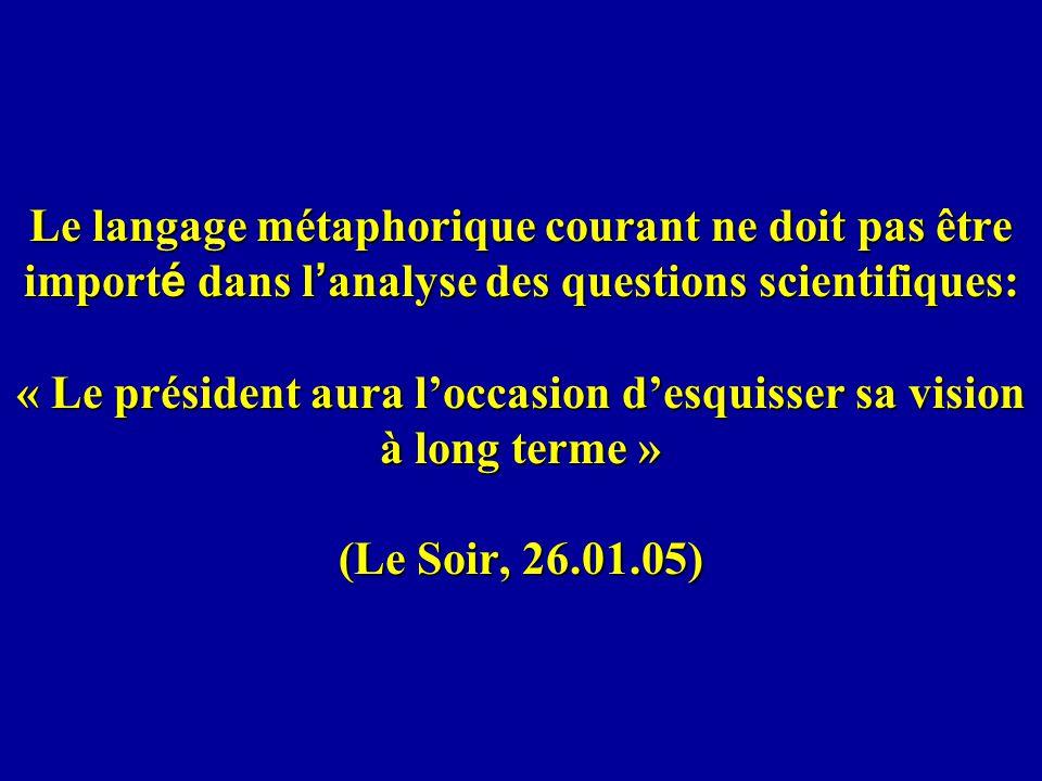 Le langage métaphorique courant ne doit pas être importé dans l'analyse des questions scientifiques: « Le président aura l'occasion d'esquisser sa vision à long terme » (Le Soir, 26.01.05)