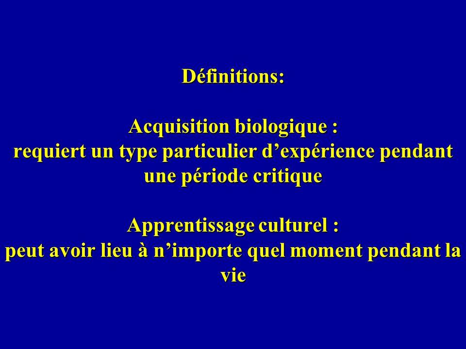 Définitions: Acquisition biologique : requiert un type particulier d'expérience pendant une période critique Apprentissage culturel : peut avoir lieu à n'importe quel moment pendant la vie