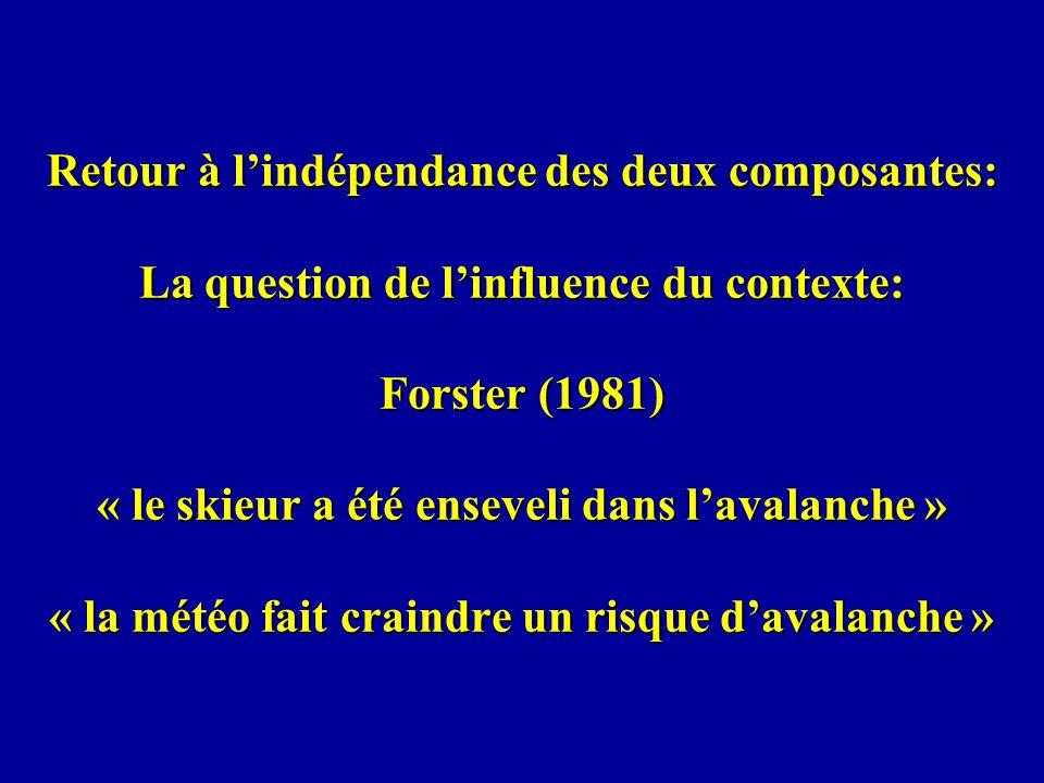 Retour à l'indépendance des deux composantes: La question de l'influence du contexte: Forster (1981) « le skieur a été enseveli dans l'avalanche » « la météo fait craindre un risque d'avalanche »