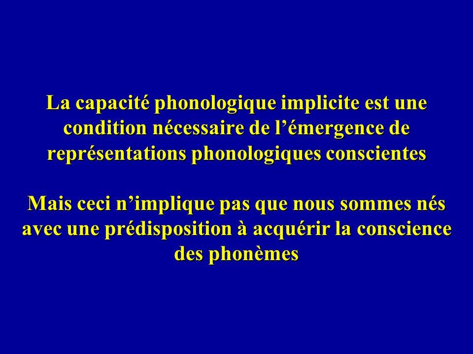La capacité phonologique implicite est une condition nécessaire de l'émergence de représentations phonologiques conscientes Mais ceci n'implique pas que nous sommes nés avec une prédisposition à acquérir la conscience des phonèmes