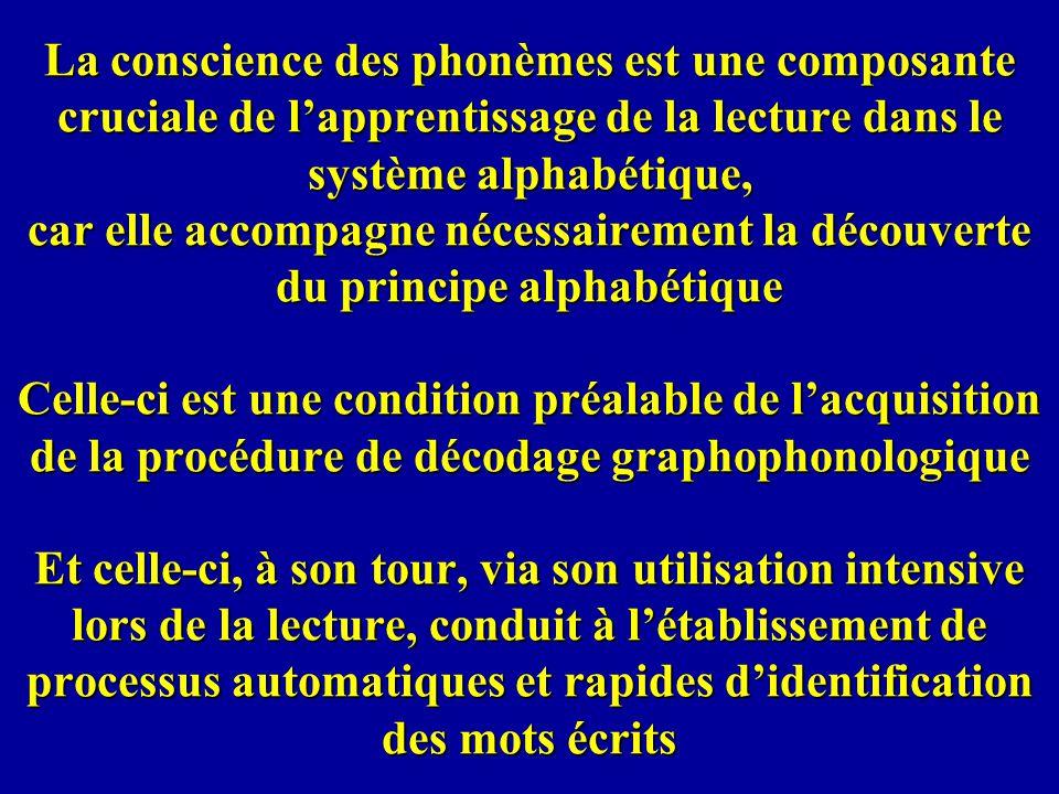 La conscience des phonèmes est une composante cruciale de l'apprentissage de la lecture dans le système alphabétique, car elle accompagne nécessairement la découverte du principe alphabétique Celle-ci est une condition préalable de l'acquisition de la procédure de décodage graphophonologique Et celle-ci, à son tour, via son utilisation intensive lors de la lecture, conduit à l'établissement de processus automatiques et rapides d'identification des mots écrits