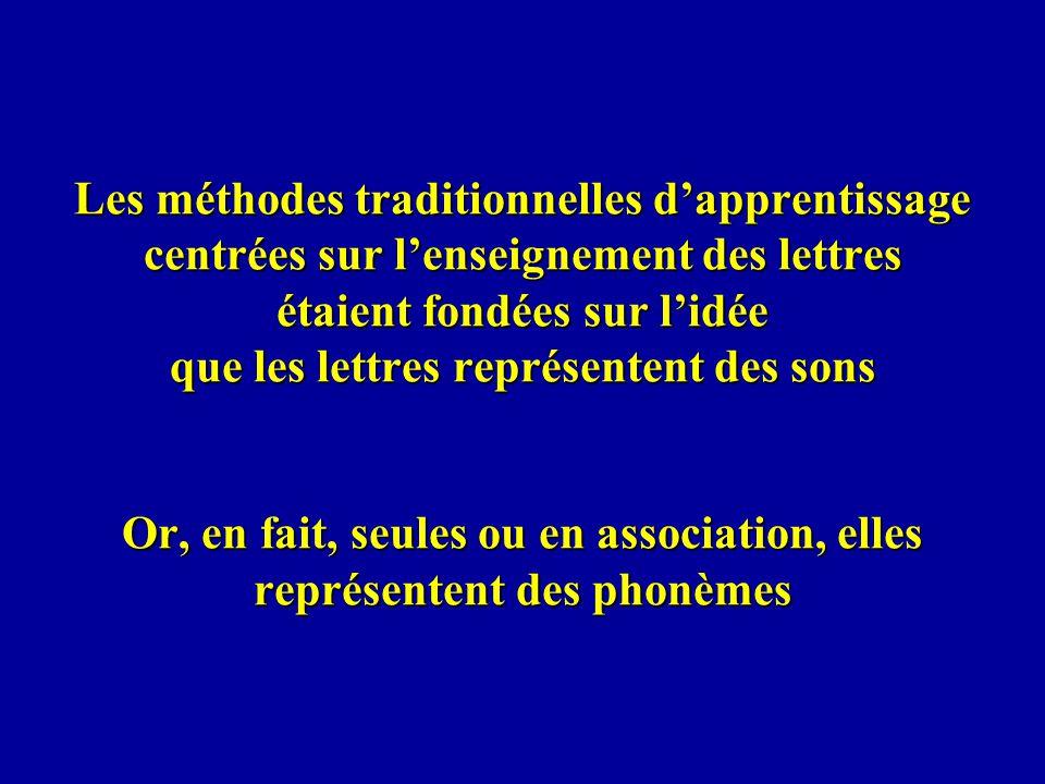 Les méthodes traditionnelles d'apprentissage centrées sur l'enseignement des lettres étaient fondées sur l'idée que les lettres représentent des sons Or, en fait, seules ou en association, elles représentent des phonèmes