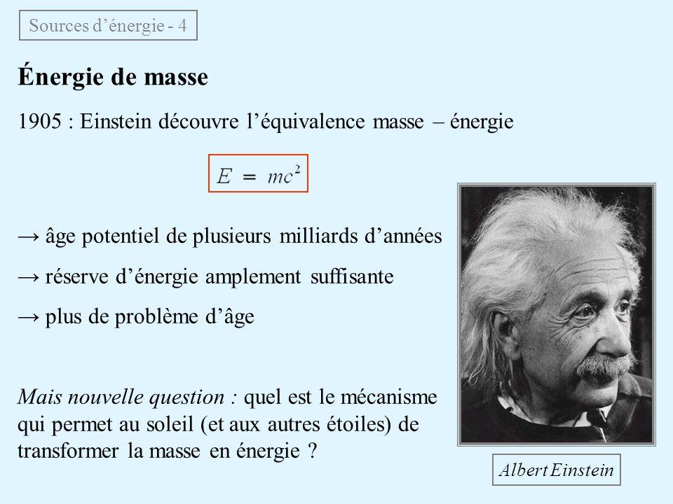 Sources d'énergie - 4 Énergie de masse. 1905 : Einstein découvre l'équivalence masse – énergie. → âge potentiel de plusieurs milliards d'années.