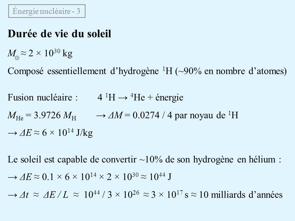 Durée de vie du soleil M ≈ 2 × 1030 kg