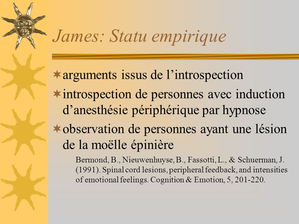 James: Statu empirique