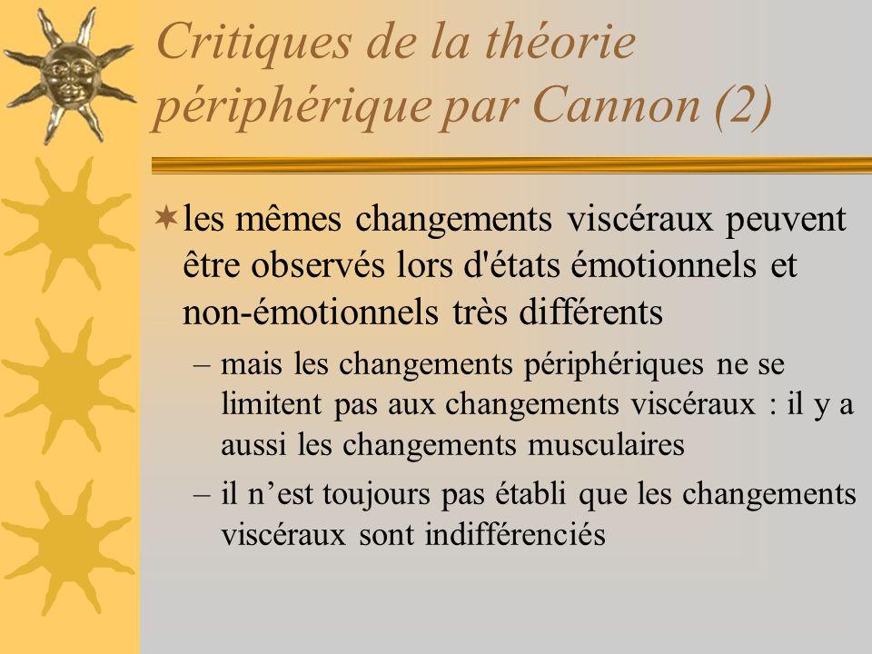 Critiques de la théorie périphérique par Cannon (2)