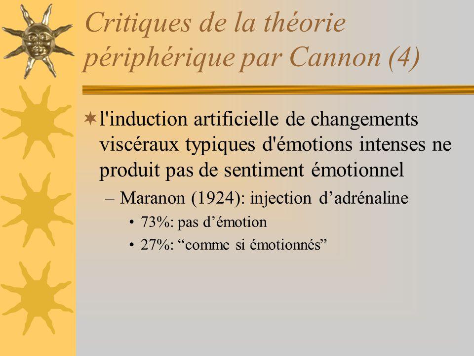 Critiques de la théorie périphérique par Cannon (4)
