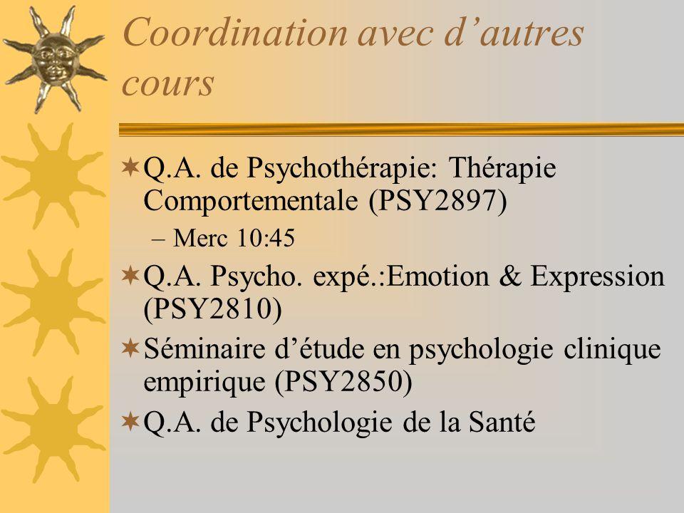 Coordination avec d'autres cours