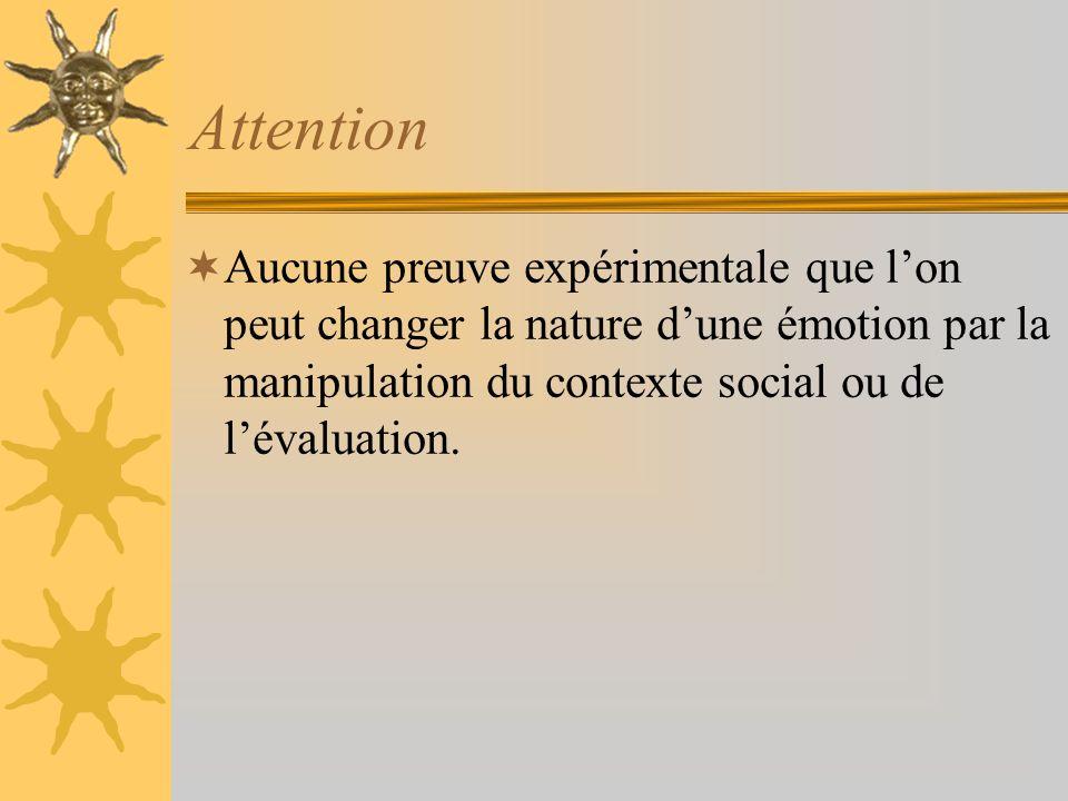 Attention Aucune preuve expérimentale que l'on peut changer la nature d'une émotion par la manipulation du contexte social ou de l'évaluation.