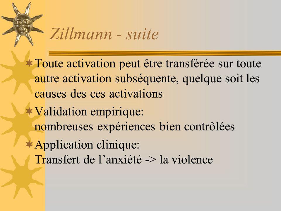 Zillmann - suite Toute activation peut être transférée sur toute autre activation subséquente, quelque soit les causes des ces activations.