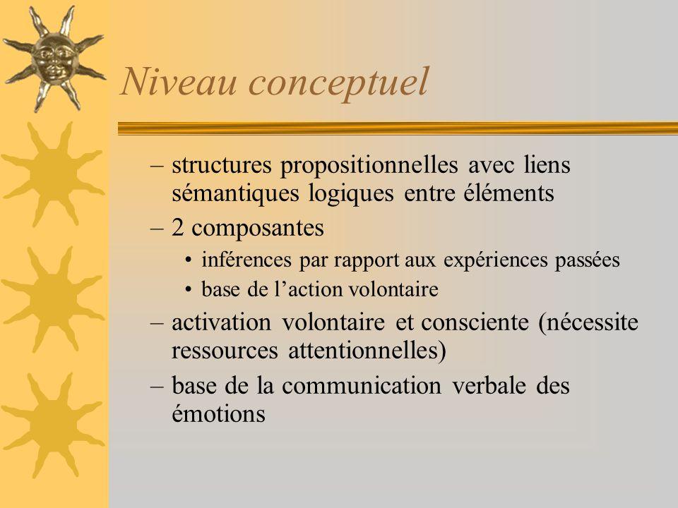 Niveau conceptuel structures propositionnelles avec liens sémantiques logiques entre éléments. 2 composantes.