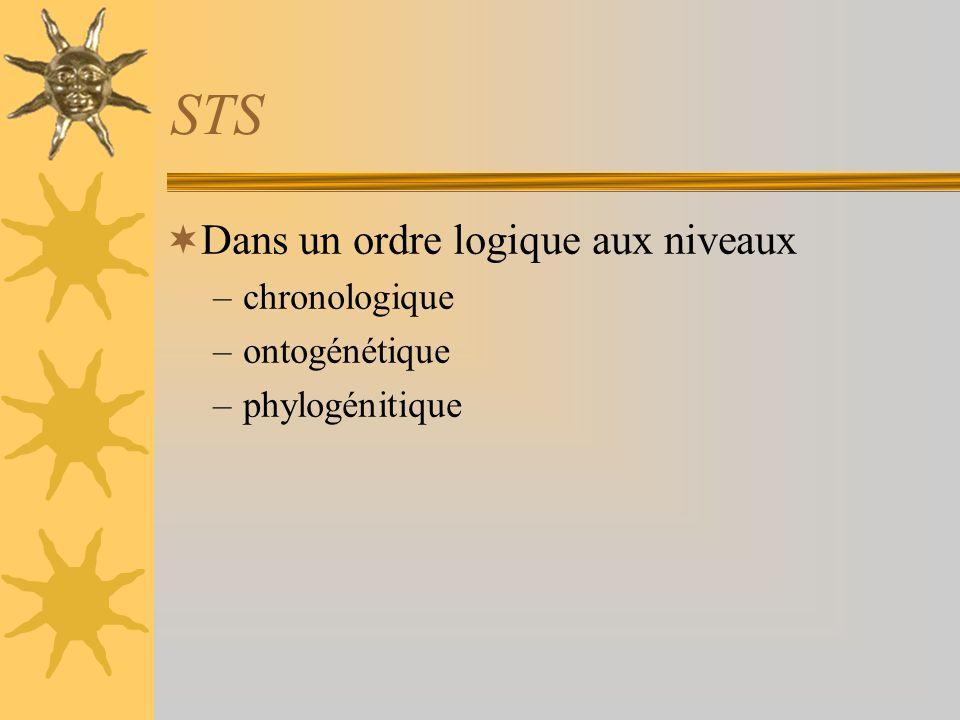 STS Dans un ordre logique aux niveaux chronologique ontogénétique