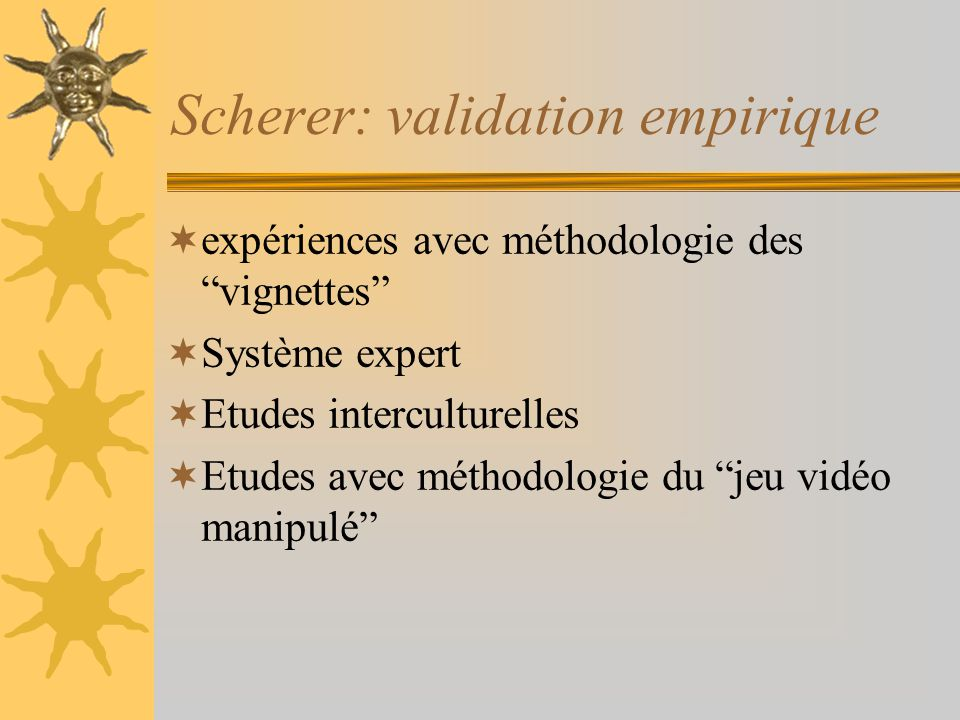 Scherer: validation empirique