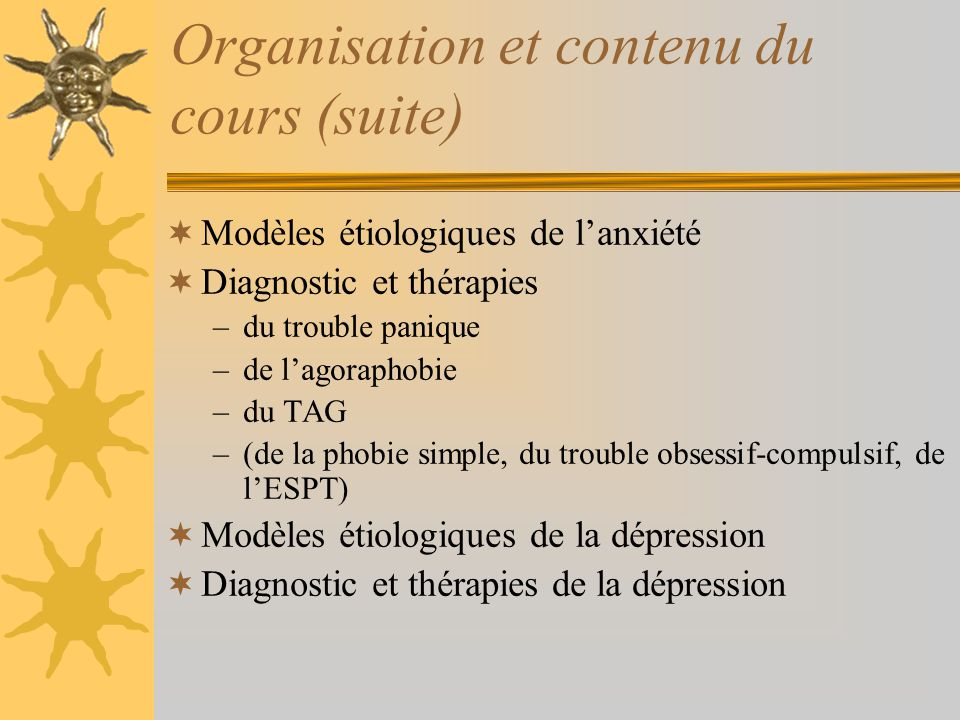 Organisation et contenu du cours (suite)