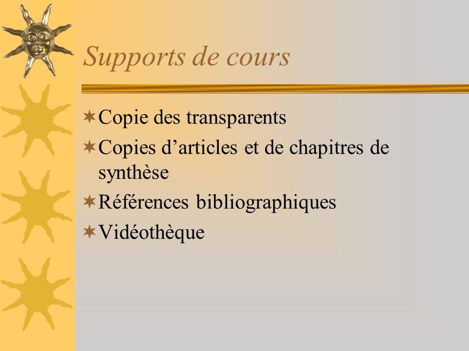 Supports de cours Copie des transparents