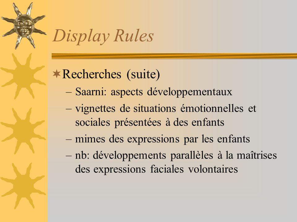 Display Rules Recherches (suite) Saarni: aspects développementaux
