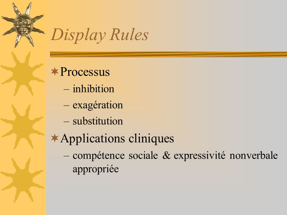 Display Rules Processus Applications cliniques inhibition exagération
