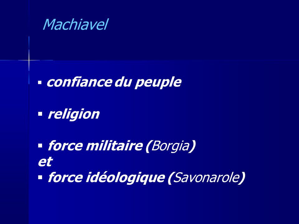 Machiavel religion force militaire (Borgia) et