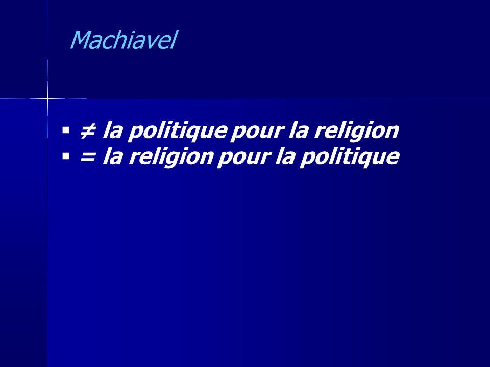 Machiavel ≠ la politique pour la religion